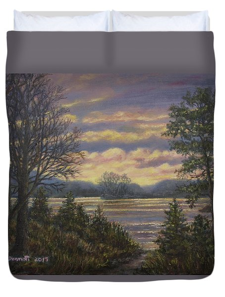 Duvet Cover featuring the painting Path To The River by Kathleen McDermott