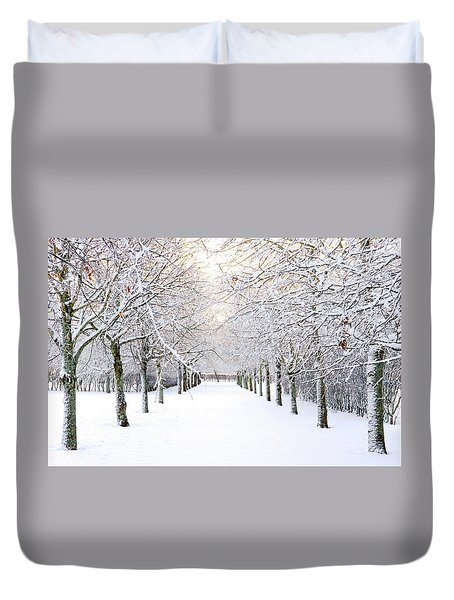 Pathway In Snow Duvet Cover