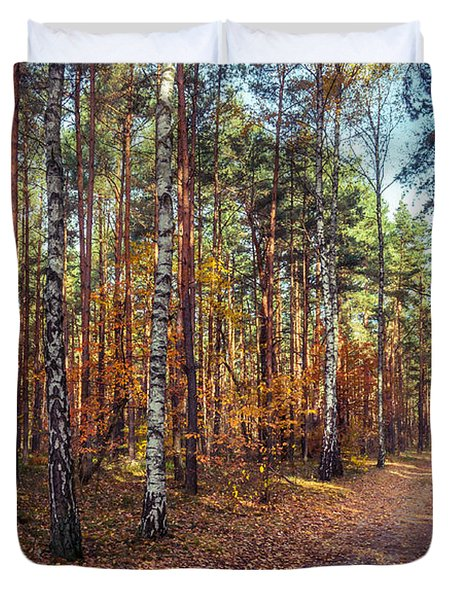 Pathway In The Autumn Forest Duvet Cover