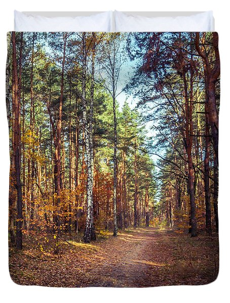 Pathway In The Autumn Forest Duvet Cover by Dmytro Korol