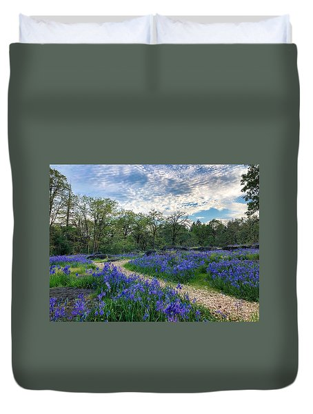 Pathway Through The Flowers Duvet Cover