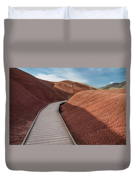 Pathway Through The Reds Duvet Cover by Greg Nyquist