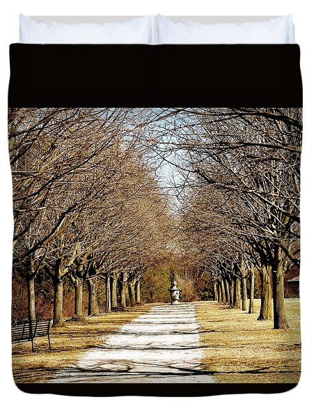 Pathway Through Trees Duvet Cover