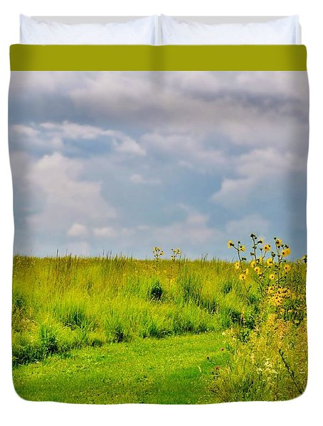 Pathway Through Wildflowers Duvet Cover