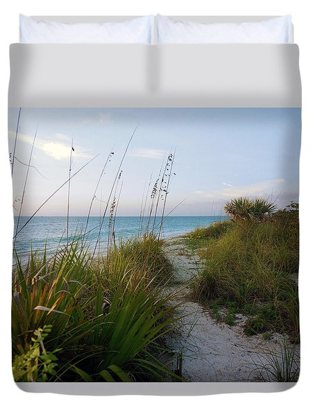Pathway To Barefoot Beach  In Naples Duvet Cover