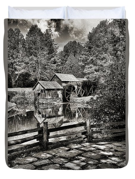 Pathway To Marby Mill In Black And White Duvet Cover by Paul Ward