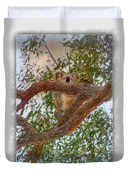 Duvet Cover featuring the photograph Patience Brings Koalas by Hanny Heim