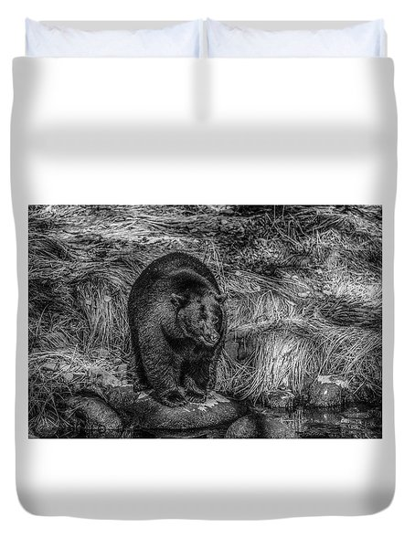 Patient Black Bear Duvet Cover