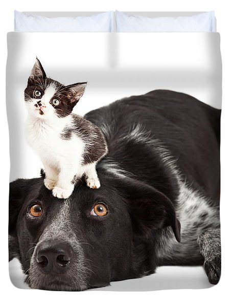 Patient Border Collie With Little Kitten On Head Duvet Cover