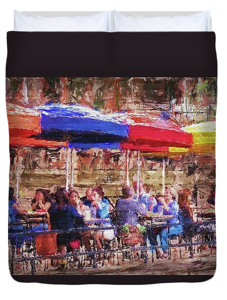 Patio At The Riverwalk Duvet Cover