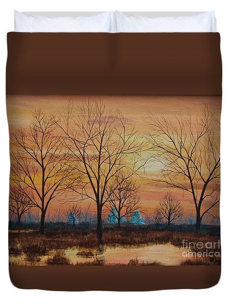 Patomac River Sunset Duvet Cover by AnnaJo Vahle