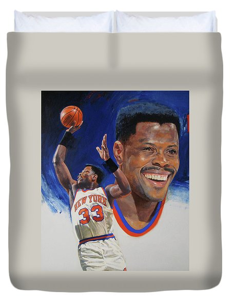 Duvet Cover featuring the painting Patrick Ewing by Cliff Spohn