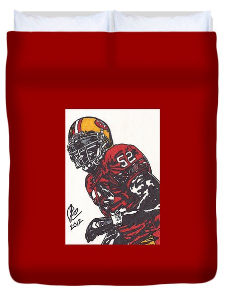 Duvet Cover featuring the drawing Patrick Willis by Jeremiah Colley