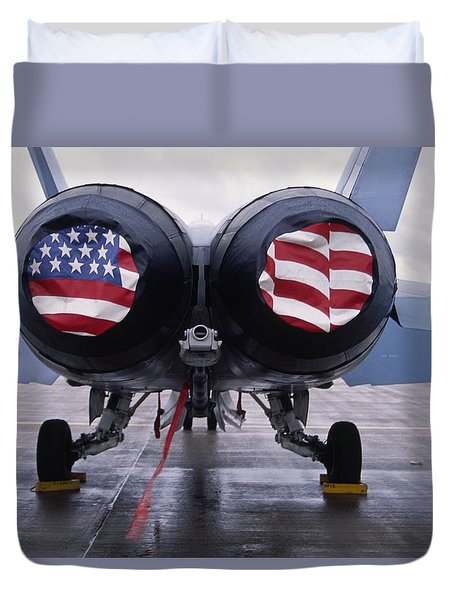 Patriotic American Flag Covers On The Rear Of An American F/a-18 Hornet Fighter Combat Jet Aircraft. Duvet Cover
