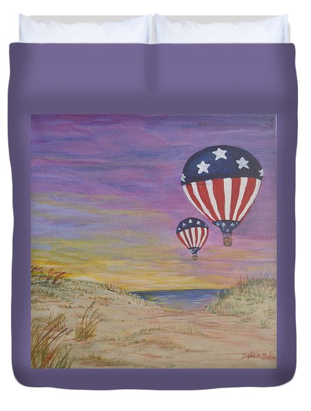 Duvet Cover featuring the painting Patriotic Balloons by Debbie Baker