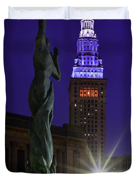Patriotic Cleveland Fountain  Duvet Cover