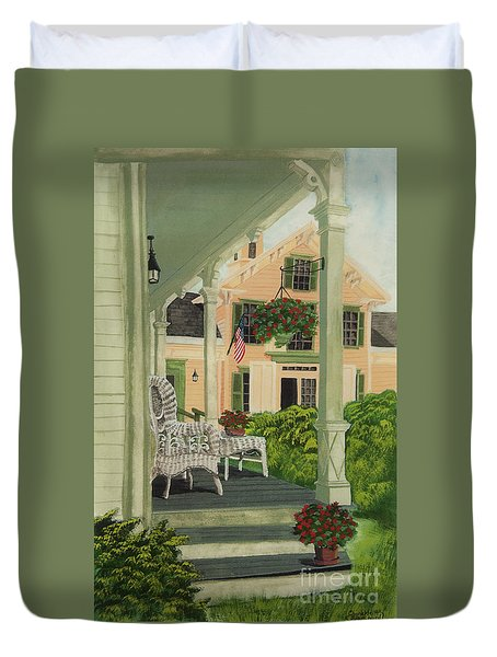 Patriotic Country Porch Duvet Cover by Charlotte Blanchard