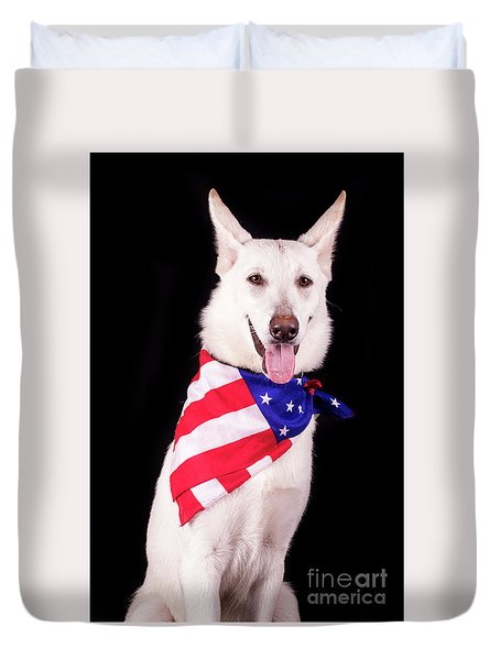 Patriotic Dog Duvet Cover by Stephanie Hayes