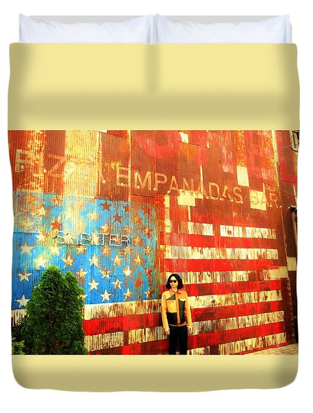 Patriotic Empanadas Wall In New York  Duvet Cover