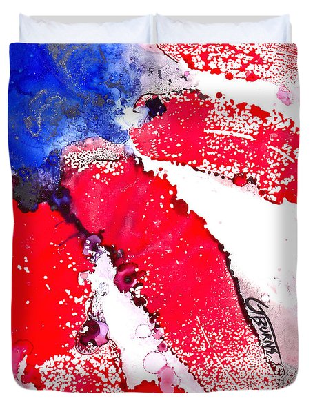 Patriotic Flag Abstract  Duvet Cover by GG Burns