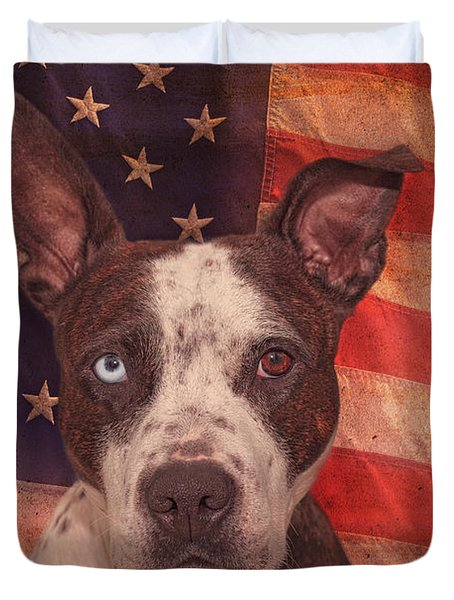 Patriotic Pit Bull  Duvet Cover