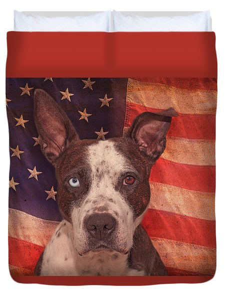 Patriotic Pit Bull  Duvet Cover by Brian Cross