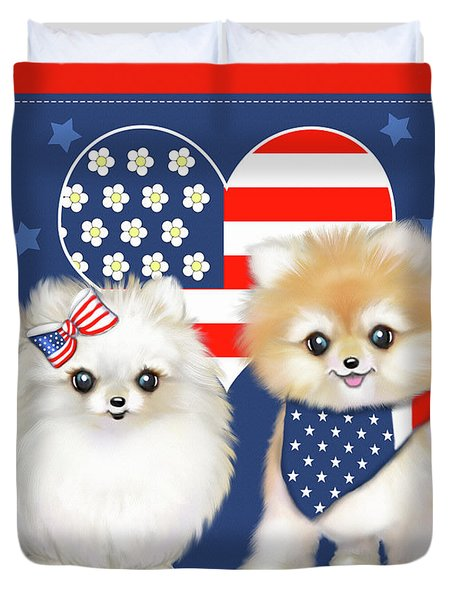 Duvet Cover featuring the painting Patriotic Pomeranians by Catia Lee