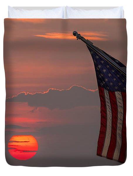 Patriotic Sunset Duvet Cover by Mark Papke
