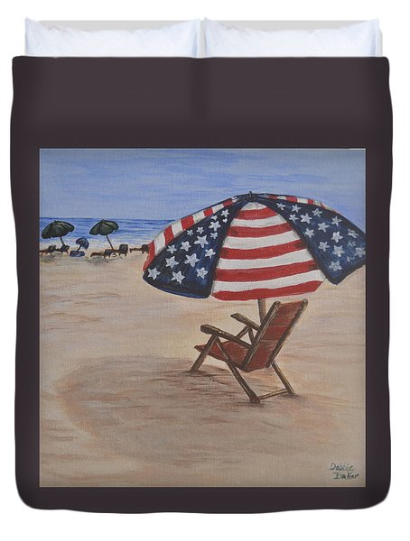 Duvet Cover featuring the painting Patriotic Umbrella by Debbie Baker