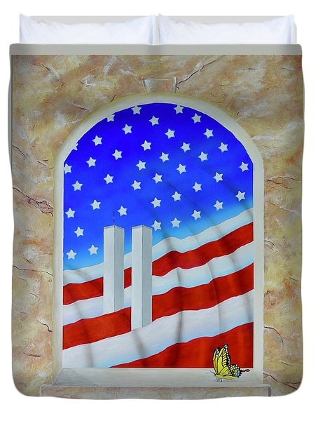 Duvet Cover featuring the painting Patriotic View by Mary Scott