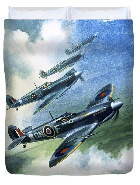 Patrolling Flight Of 416 Squadron, Royal Canadian Air Force, Spitfire Mark Nines Duvet Cover