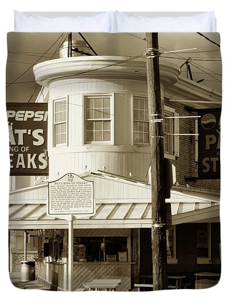 Pat's King Of Steaks - Philadelphia Duvet Cover by Bill Cannon
