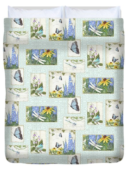 Pattern Butterflies Dragonflies Birds And Blue And Yellow Floral Duvet Cover by Audrey Jeanne Roberts