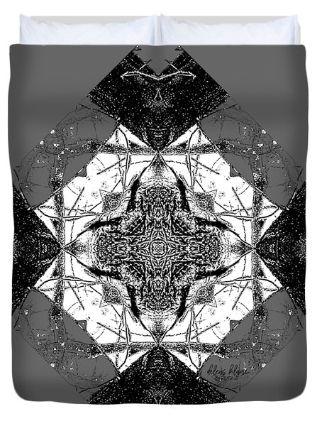 Duvet Cover featuring the digital art Pattern In Black White by Deleas Kilgore
