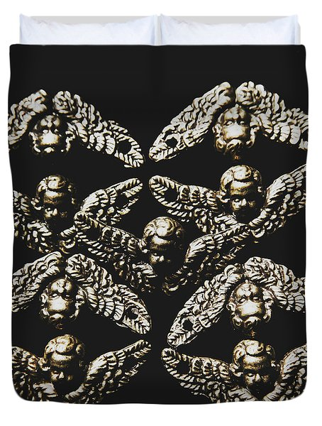 Pattern Of Antique Cupid Angels  Duvet Cover