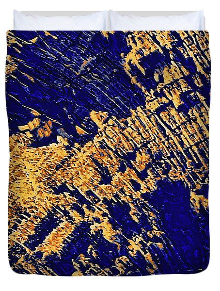Duvet Cover featuring the photograph Tree Stump Pattern In Gold And Blue by Menega Sabidussi