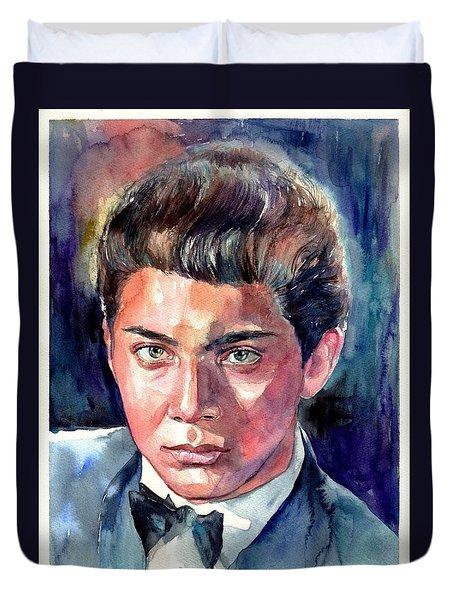 Paul Anka Young Portrait Duvet Cover