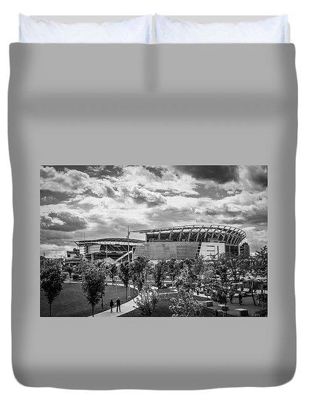 Paul Brown Stadium Black And White Duvet Cover by Scott Meyer