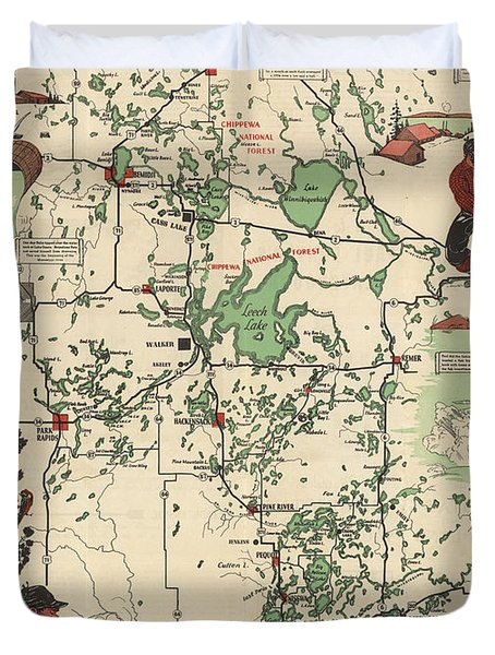 Paul Bunyan's Playground - Northern Minnesota - Vintage Illustrated Map - Cartography Duvet Cover