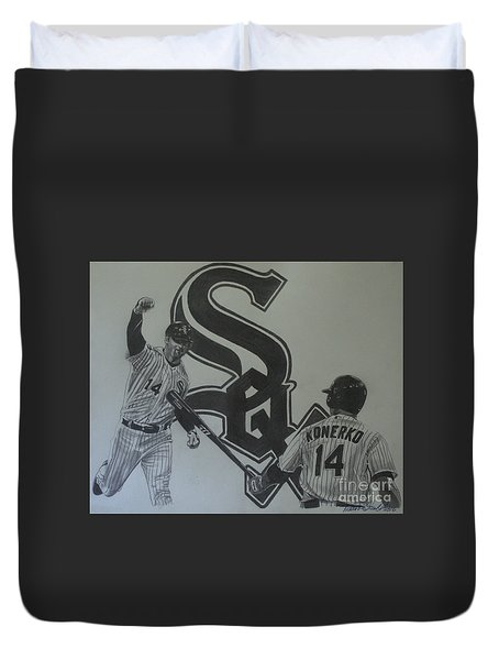 Paul Konerko Collage Duvet Cover