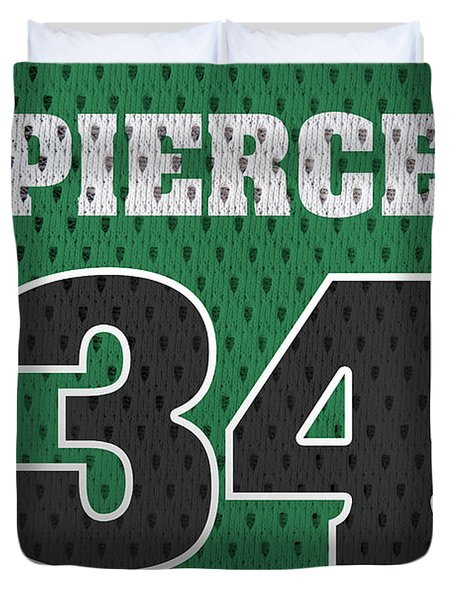Paul Pierce Boston Celtics Number 34 Retro Vintage Jersey Closeup Graphic Design Duvet Cover