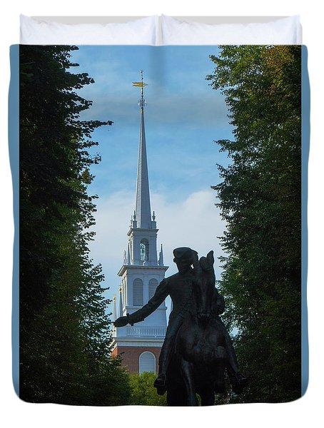 Paul Revere Old North Church Boston Duvet Cover
