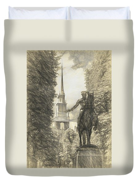 Paul Revere Rides Sketch Duvet Cover