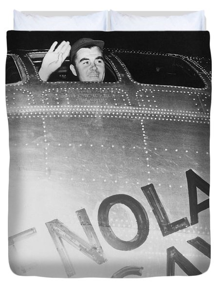 Paul Tibbets In The Enola Gay Duvet Cover