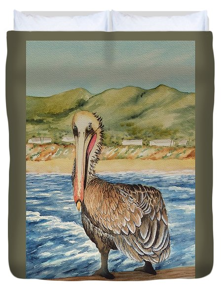 Duvet Cover featuring the painting Paula's Pelican by Katherine Young-Beck