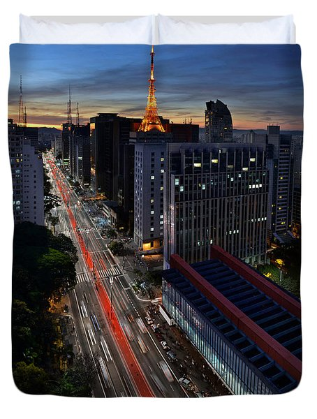 Paulista Avenue And Masp At Dusk - Sao Paulo - Brazil Duvet Cover