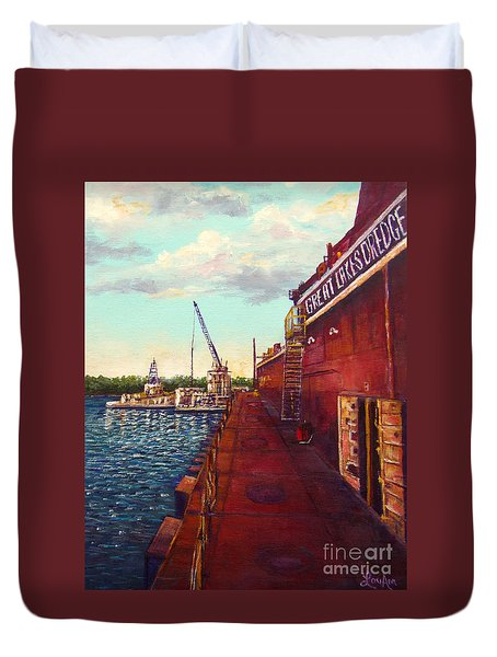 Duvet Cover featuring the painting Pauls Work Place by Lou Ann Bagnall