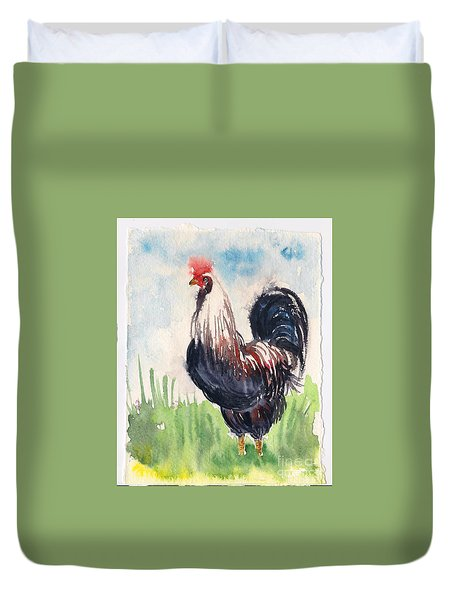 Duvet Cover featuring the painting Paunchy Rooster by Asha Sudhaker Shenoy