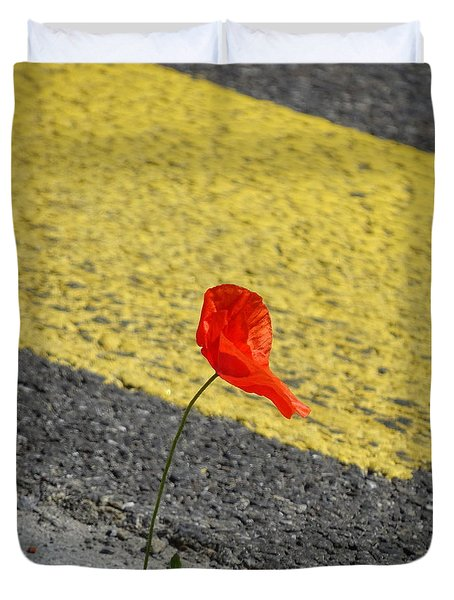 Duvet Cover featuring the photograph Pavement Poppy by Brian Boyle