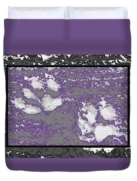 Paw Prints Lilac Framed Duvet Cover